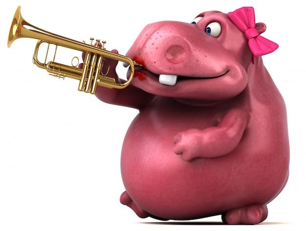 Ilustração 3d de hipopótamo rosa