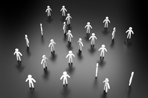 Ilustração 3d de indivíduos formando uma multidão