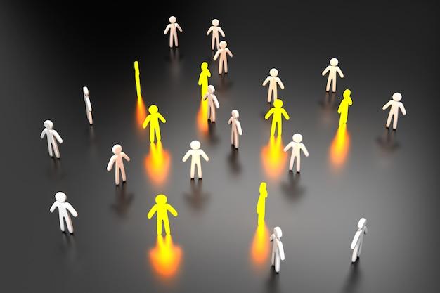 Ilustração 3d de indivíduos selecionados em pé no meio da multidão