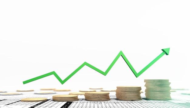 Ilustração 3d de investimento financeiro no mercado de ações com moedas