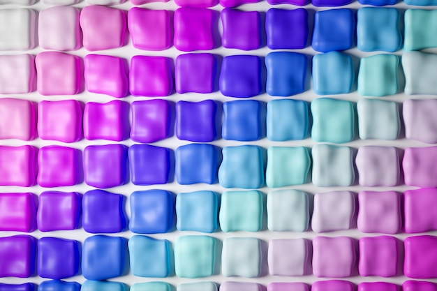 Ilustração 3d de linhas de goma de mascar multi-coloridas em cores degradê