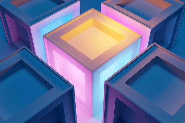 Ilustração 3d de linhas de iluminação cubo rosa. conjunto de quadrados em fundo monocromático, padrão. fundo de geometria