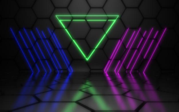 Ilustração 3d de linhas de néon de fundo abstrato de glow.3d