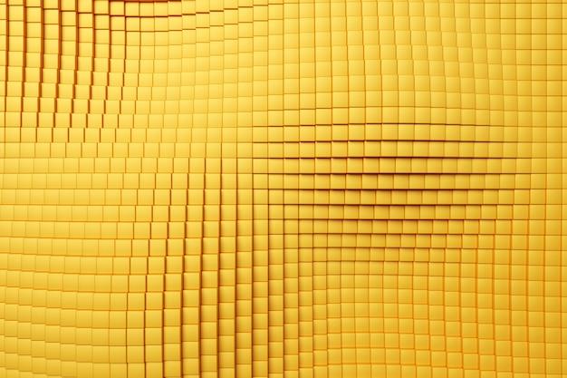 Ilustração 3d de linhas de quadrados amarelos conjunto de cubos no padrão de fundo monocromático