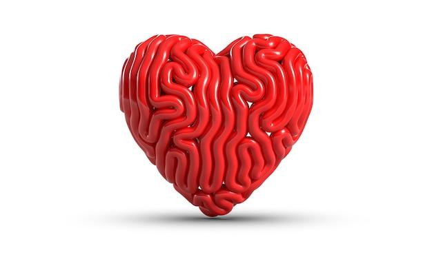Ilustração 3d de linhas em forma de coração isoladas no fundo branco