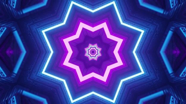 Ilustração 3d de linhas roxas e azuis 4k uhd brilhando com luz de néon e formando um ornamento em forma de estrela