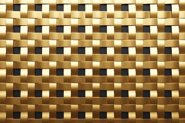 Ilustração 3d de listras de parede metálica ouro. conjunto de quadrados em fundo monocromático, padrão. fundo de geometria, padrão