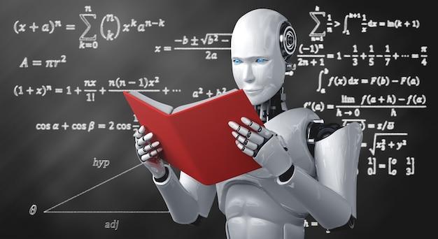 Ilustração 3d de livro de leitura de robô humanóide e resolução de matemática