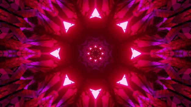 Ilustração 3d de luzes de néon em forma de triângulo simétrico decorando um padrão floral de caleidoscópio como fundo abstrato