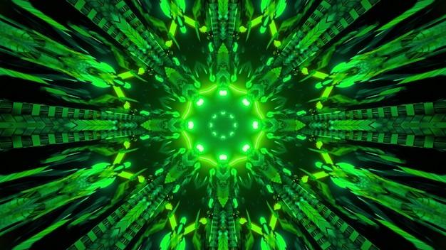Ilustração 3d de luzes verdes de néon brilhantes brilhando no ciberespaço escuro como pano de fundo abstrato