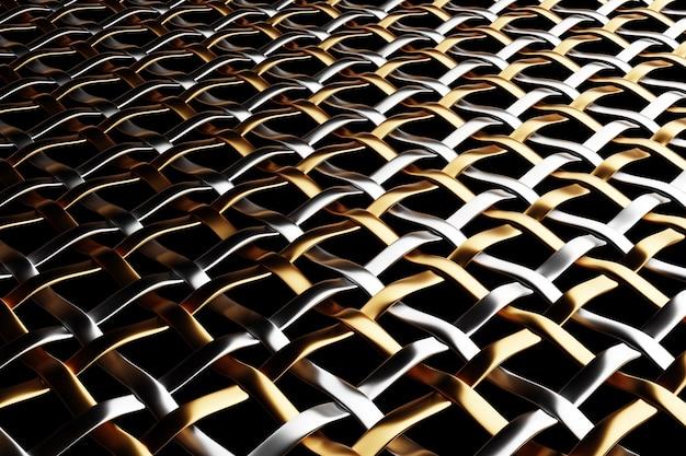 Ilustração 3d de malha de metal preto. fundo texturizado brilhante ornamento abstrato.
