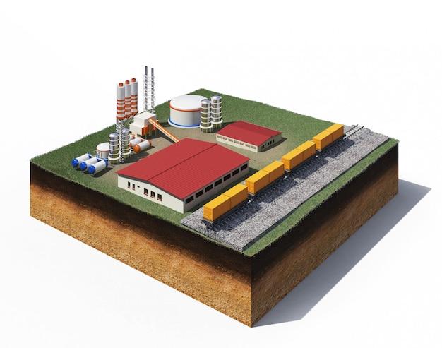 Ilustração 3d de maquinaria pesada da fábrica de produção de cascalho em pé na seção transversal do solo com grama isolada no branco