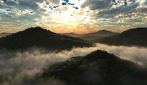 Ilustração 3d de montanhas e floresta