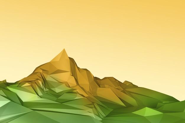 Ilustração 3d de montanhas poligonais