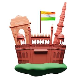 Ilustração 3d de monumentos famosos da índia com a bandeira indiana no fundo branco.