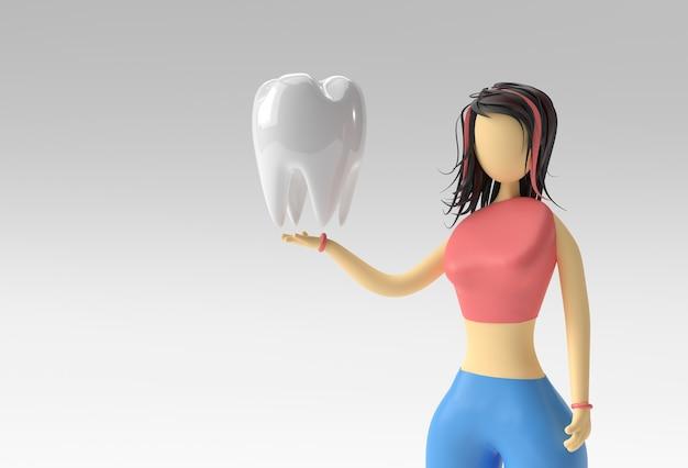 Ilustração 3d de mulher em pé segurando os dentes, 3d render design.