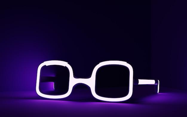 Ilustração 3d de óculos brilhante no fundo roxo escuro