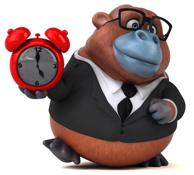 Ilustração 3d de orangotango engraçado