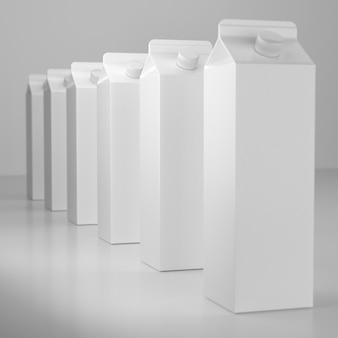 Ilustração 3d de pacotes de leite ou suco