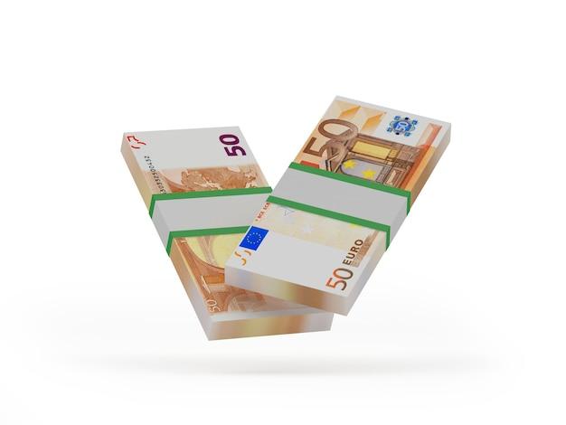 Ilustração 3d de pacotes de notas de cinquenta euros
