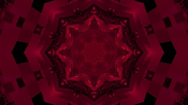 Ilustração 3d de padrão floral fractal fúcsia brilhante em túnel escuro como fundo abstrato