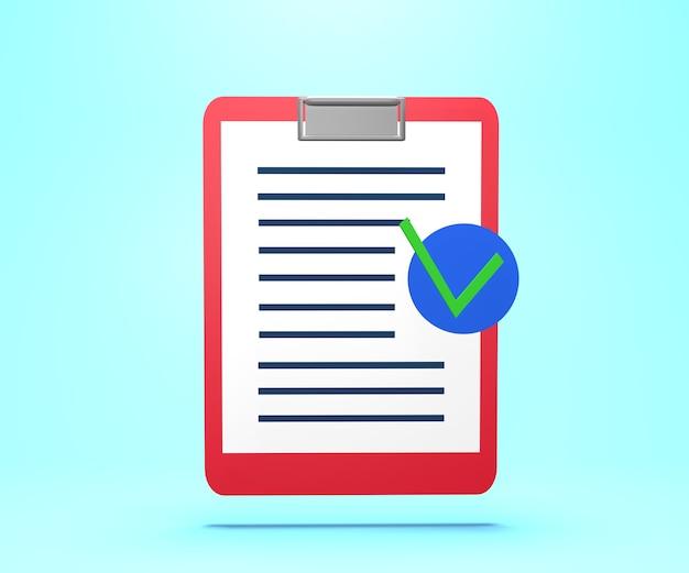 Ilustração 3d de papel com texto e marca de aprovação. renderização 3d em papel de documento de seguro com marca de aprovação