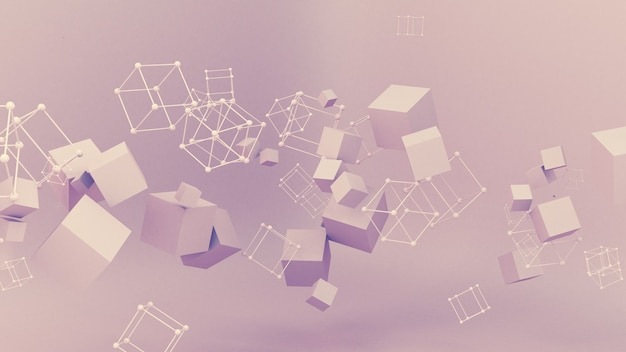 Ilustração 3d de partícula de minimalismo de estúdio abstrato rosa roxo