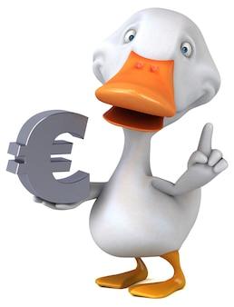 Ilustração 3d de pato engraçado