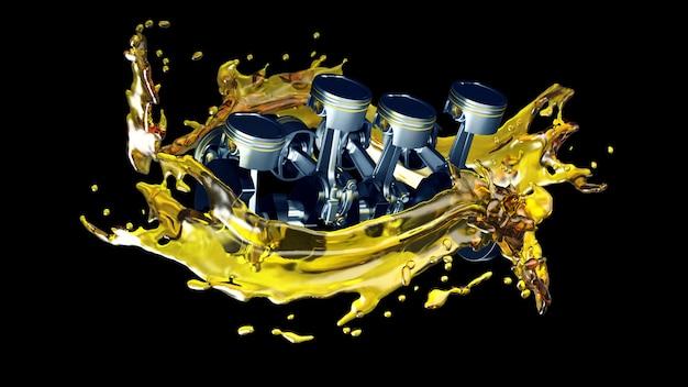 Ilustração 3d de peças no motor do carro com óleo lubrificante na reparação