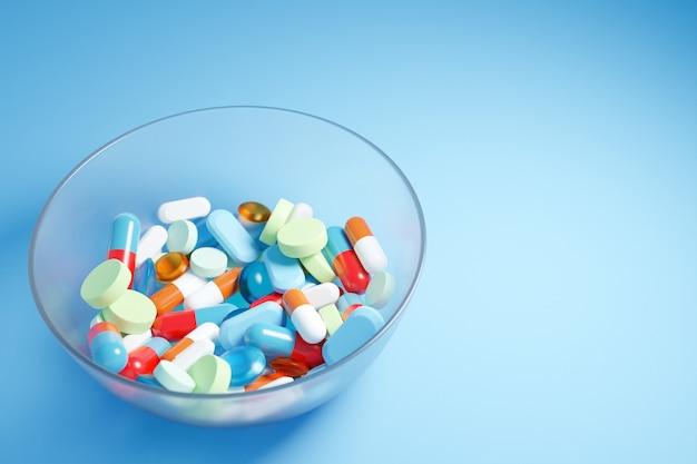 Ilustração 3d de pílulas multicoloridas e de formatos diferentes
