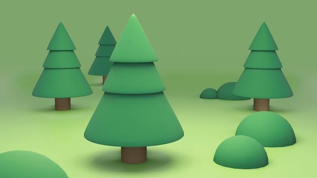 Ilustração 3d de pinheiros dos desenhos animados na floresta
