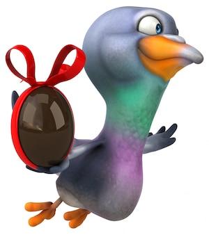 Ilustração 3d de pombo divertido