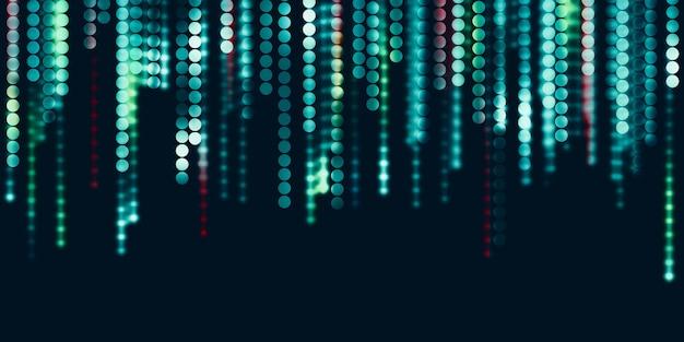 Ilustração 3d de pontos de néon abstratos de círculo de fundo de tecnologia
