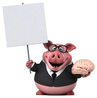Ilustração 3d de porco engraçado