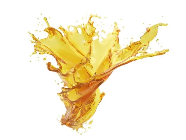 Ilustração 3d de respingo amarelo em fundo branco com traçado de recorte