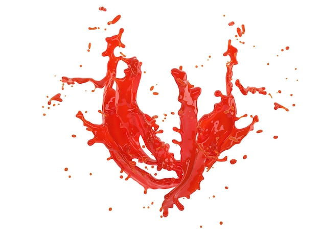 Ilustração 3d de respingo vermelho sobre fundo branco com traçado de recorte