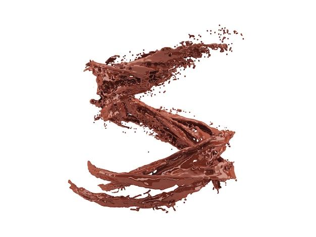 Ilustração 3d de respingos de chocolate em fundo branco com traçado de recorte