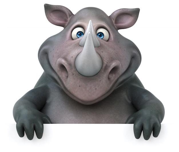 Ilustração 3d de rinoceronte divertido