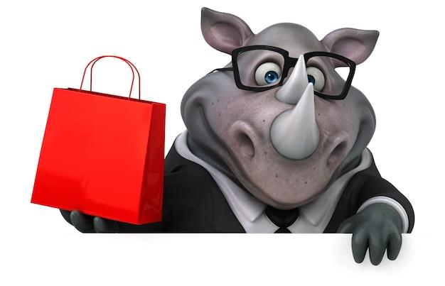 Ilustração 3d de rinoceronte engraçado