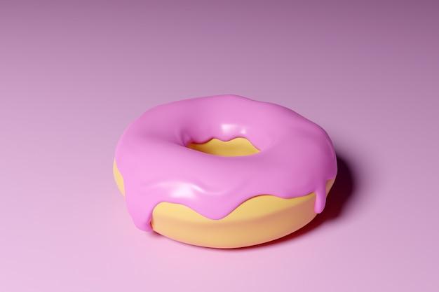 Ilustração 3d de rosquinha apetitosa rosa realista sobre fundo rosa. design moderno simples. ilustração realista.