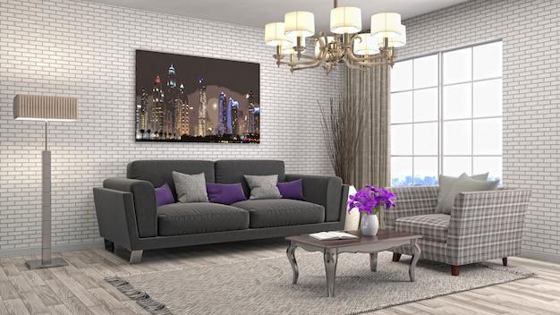 Ilustração 3d de sala de estar interior