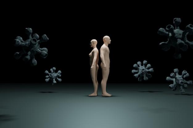 Ilustração 3d de seres humanos e vírus