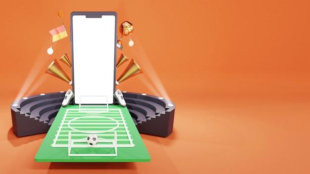 Ilustração 3d de smartphone com vista para o estádio de futebol, copa do troféu de ouro, chifres de vuvuzela e espaço de cópia.