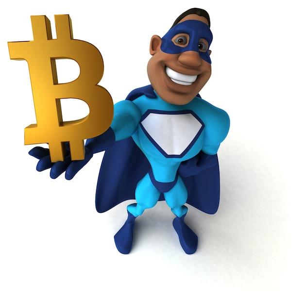 Ilustração 3d de super-herói divertido