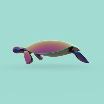 Ilustração 3d de tartaruga gradiente