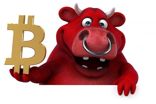 Ilustração 3d de touro divertido