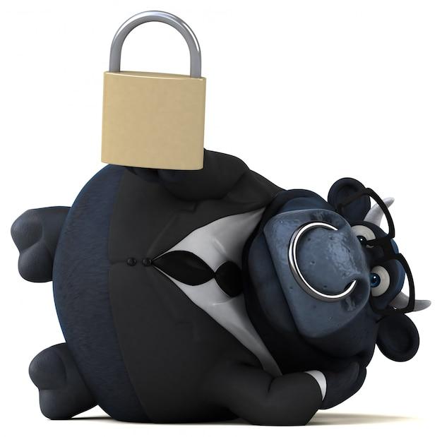 Ilustração 3d de touro preto