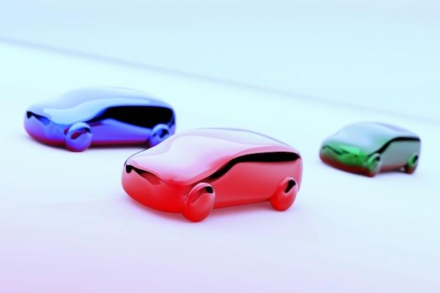 Ilustração 3d de três carros de brinquedo coloridos na superfície branca e fundo azul com desfoque