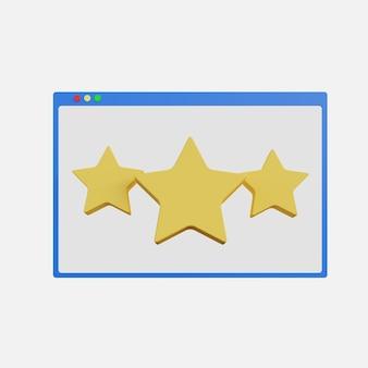 Ilustração 3d de três estrelas para avaliação de uma teia em fundo branco