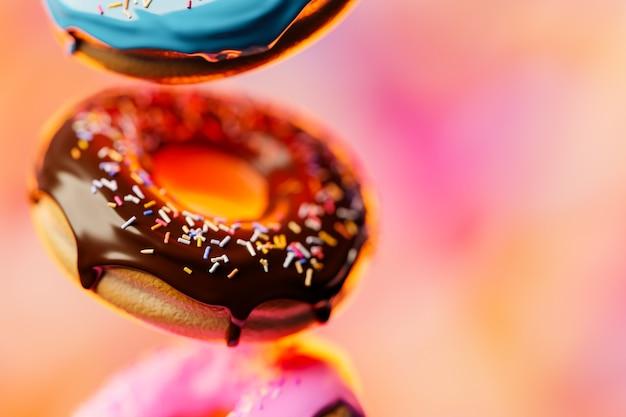Ilustração 3d de três rosquinhas deliciosas e apetitosas multicoloridas levitam sobre um fundo desfocado.